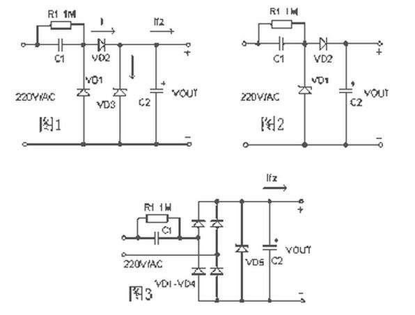 电容降压式简易电源的基本电路如图1,C1 为降压电容器,D2 为半波整流二极管,D1 在市电的负半周时给C1 提供放电回路,D3 是稳压二极管R1 为关断电源后C1 的电荷泄放电阻。在实际应用时常常采用的是图2 的所示的电路。当需要向负载提供较大的电流时,可采用图3 所示的桥式整流电路。整流后未经稳压的直流电压一般会高于30 伏,并且会随负载电流的变化发生很大的波动,这是因为此类电源内阻很大的缘故所致,故不适合大电流供电的应用场合。 二、器件选择 1.